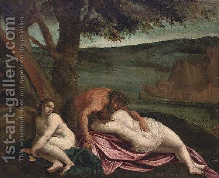 Two nymphs with a satyr on a river bank by (after) Ippolito Scarsella (see Scarsellino) - Reproduction Oil Painting