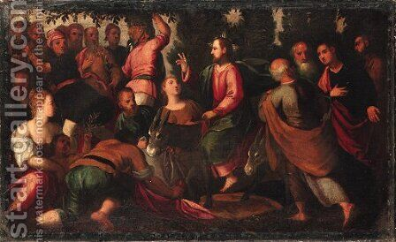 Christ's Entry into Jerusalem by (after) Ippolito Scarsella (see Scarsellino) - Reproduction Oil Painting