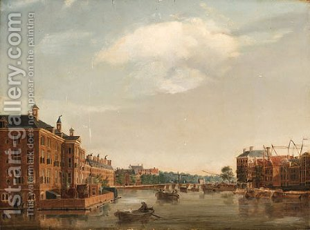 The Diachonie Orphanage on the Amstel looking to the Blauwbrug Bridge, Amsterdam by (after) Isaac Ouwater - Reproduction Oil Painting