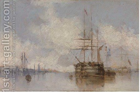 Warships at anchor by (after) Isaac Walter Jenner - Reproduction Oil Painting