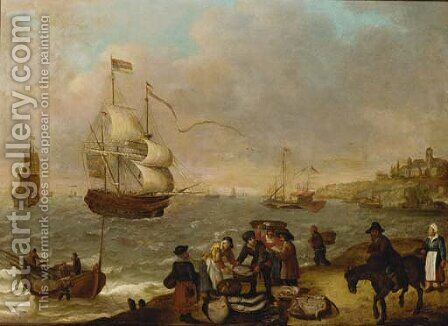 A coastal landscape with fisherfolk selling their catch by (after) Isaac Willaerts - Reproduction Oil Painting