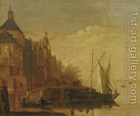 A river landscape with boats moored at a townside by (after) Jacob Adriaensz. Bellevois - Reproduction Oil Painting