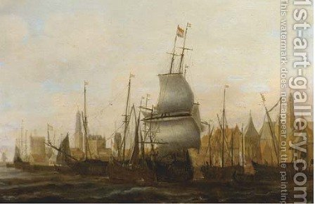 Three Masters and other vessels moored at a quay by (after) Jacob Adriaensz. Bellevois - Reproduction Oil Painting