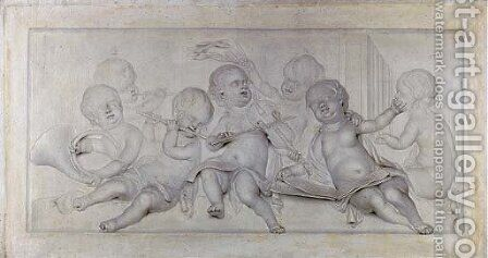 An allegory of Music, with putti singing and playing music, en grisaille an overdoor by (after) Jacob De Wit - Reproduction Oil Painting