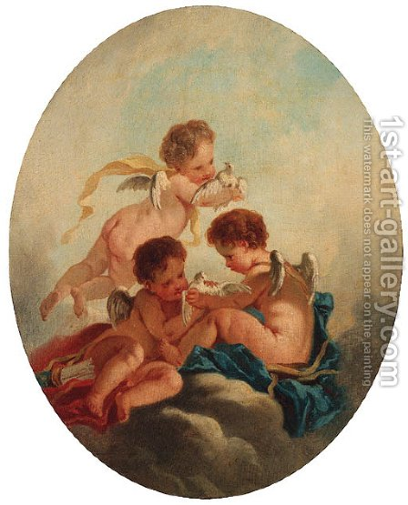 Putti disporting with doves by (after) Jacob De Wit - Reproduction Oil Painting