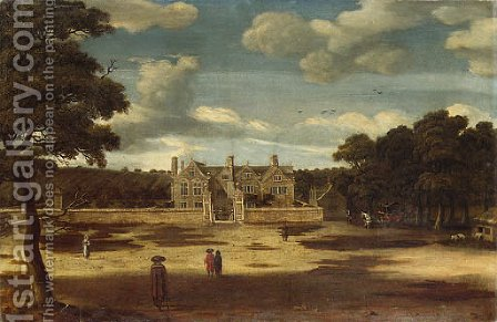 View of a Manor House, with figures in the foreground by (after) Jacob Esselens - Reproduction Oil Painting