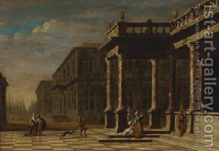Elegant figures before a palace, a park beyond by (after) Jacobus Saeys - Reproduction Oil Painting