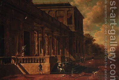 Elegant figures on the steps of a mansion, a park landscape beyond by (after) Jacobus Saeys - Reproduction Oil Painting