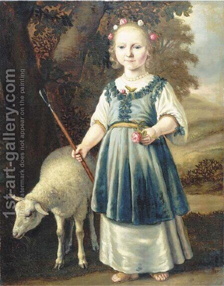 Portrait of a young girl dressed as a shepherdess by (after) Jacob Gerritsz. Cuyp - Reproduction Oil Painting