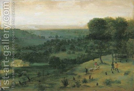 An extensive wooded landscape with huntsmen, a peasant and cattle in the distance by (after) Jacob Grimmer - Reproduction Oil Painting