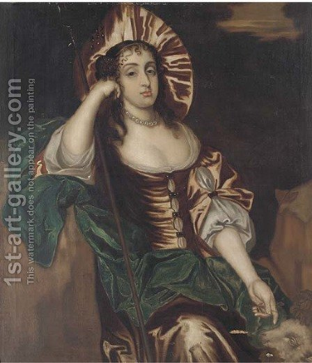 Portrait of a lady, three-quarter-length, in a brown dress and blue wrap, as a shepherdess by (after) Huysmans, Jacob - Reproduction Oil Painting