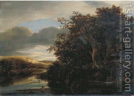 A wooded river landscape with travellers on a path by (after) Isaak Van Ruisdael - Reproduction Oil Painting