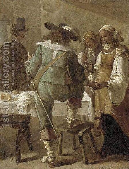 A cavalryman having his palm read in an inn by (after) Jacob Van Velsen - Reproduction Oil Painting