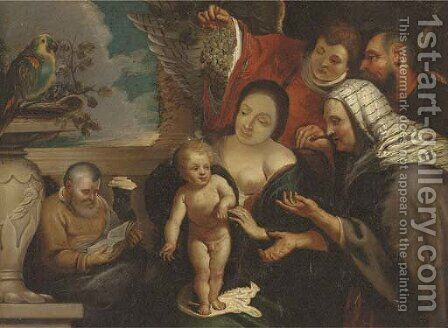 The Holy Family with Saints Joachim and Anne and an Angel by (after) Jacob Jordaens - Reproduction Oil Painting