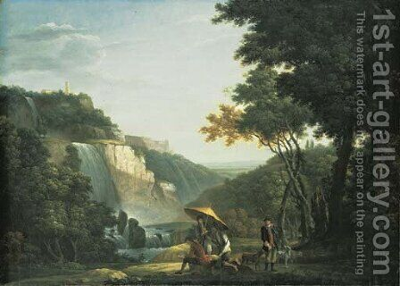 View of the Falls at Tivoli and the Villa of Maecenas, an artist sketching and sportsmen in the foreground by (after) Jacob More - Reproduction Oil Painting