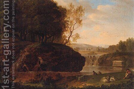 A river landscape with a shepherd resting on a bank by (after) Jakob Philippe Hackert - Reproduction Oil Painting