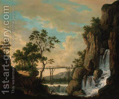 A river landscape with a fisherman before a waterfall, a traveller traversing a bridge beyond by (after) Jakob Philippe Hackert - Reproduction Oil Painting
