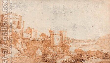 A fortified bridge by a tower, an extensive river landscape beyond by (after) Jacob I Savery - Reproduction Oil Painting