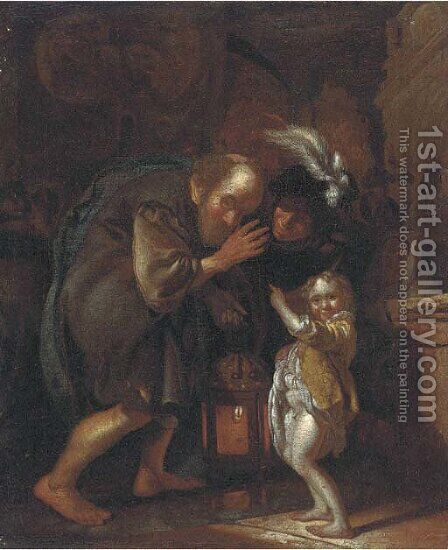 An old man holding a lantern, with a woman and child in an interior by (after) Jacob Toorenvliet - Reproduction Oil Painting