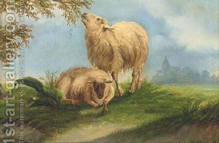 Sheep in a landscape by (after) Jacob Van Dieghem - Reproduction Oil Painting