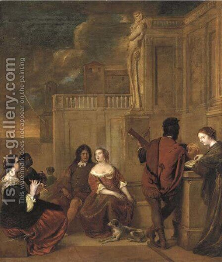 Elegant company listening to music on a terrace by (after) Jacob Van Loo - Reproduction Oil Painting