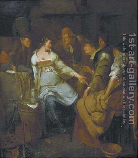 A young courtesan with other figures making merry in an inn by (after) Jacob Van Ochtervelt - Reproduction Oil Painting