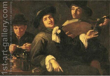 The Five Senses three men smoking, drinking and making music by (after) Jacob Van, The Elder Oost - Reproduction Oil Painting