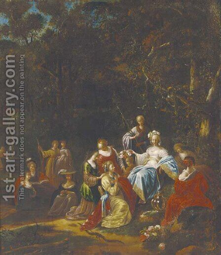 Amarillus and Mirtillo by (after) Jacob Willemsz De The Elder Wet - Reproduction Oil Painting