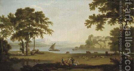 A landscape with figures at rest by sheep and cattle, boating on a lake and a hilltop fort beyond by (after) Jakob Philippe Hackert - Reproduction Oil Painting