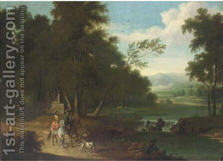 An extensive wooded river landscape with a hawking party on a track by (after) Joris Van Der Haagen Or Hagen - Reproduction Oil Painting