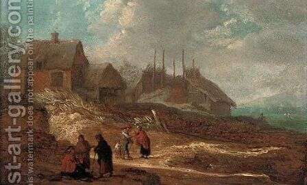 A dune landscape with figures conversing on a track before a village, a river beyond by (after) Jacobus Sibrandi Mancadan - Reproduction Oil Painting
