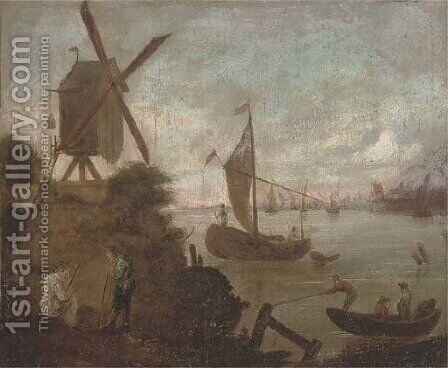 A river landscape with figures and boats by a windmill by (after) Jacobus Storck - Reproduction Oil Painting