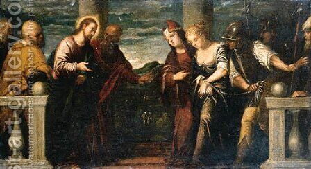 Christ and the Woman taken in Adultery by (after) Jacopo D'Antonio Negretti (see Palma Giovane) - Reproduction Oil Painting