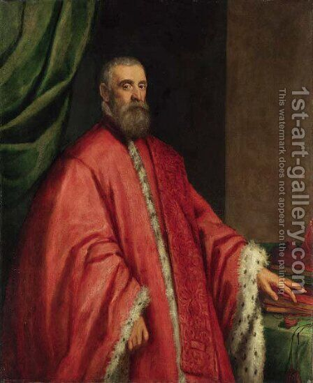 Portrait of a Venetian senator by (after) Jacopo Tintoretto (Robusti) - Reproduction Oil Painting