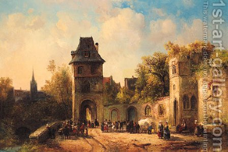Figures gathering near the Gate of a Town by (after) Jacques (Le Bourguignon) Courtois - Reproduction Oil Painting