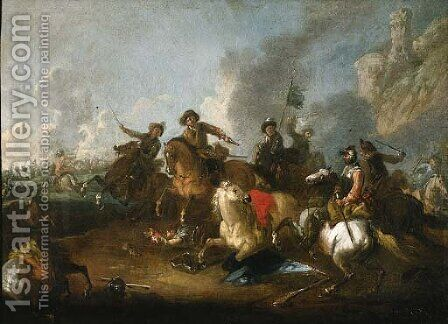 A cavalry skirmish by (after) Jacques (Le Bourguignon) Courtois - Reproduction Oil Painting