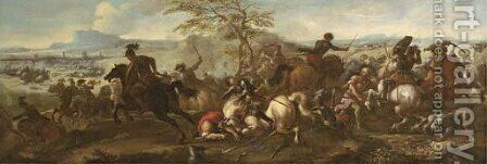 A cavalry battle between Christians and Turks by (after) Jacques (Le Bourguignon) Courtois - Reproduction Oil Painting