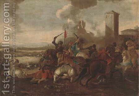 A cavalry skirmish between Christians and Turks by (after) Jacques (Le Bourguignon) Courtois - Reproduction Oil Painting