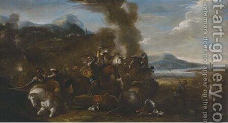 A cavalry skirmish 2 by (after) Jacques (Le Bourguignon) Courtois - Reproduction Oil Painting