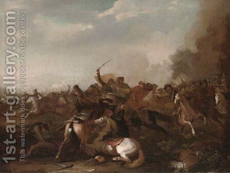 A cavalry skirmish 3 by (after) Jacques (Le Bourguignon) Courtois - Reproduction Oil Painting