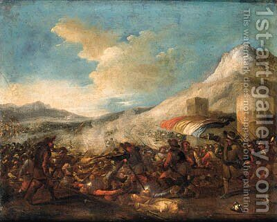 An Infantry Battle in a mountainous Landscape by (after) Jacques (Le Bourguignon) Courtois - Reproduction Oil Painting