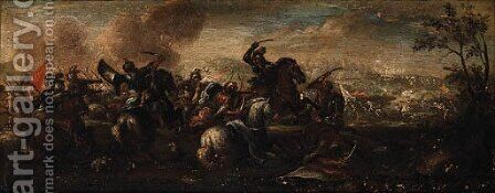 Cavalry Skirmishes between Crusaders and Turks by (after) Jacques (Le Bourguignon) Courtois - Reproduction Oil Painting