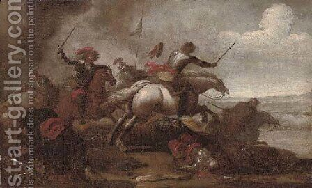 A cavalry skirmish 5 by (after) Jacques (Le Bourguignon) Courtois - Reproduction Oil Painting