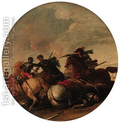 Cavalry engagements by (after) Jacques (Le Bourguignon) Courtois - Reproduction Oil Painting