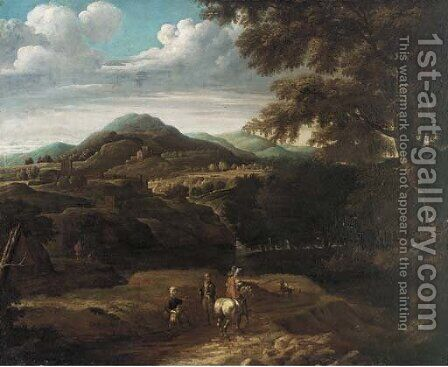 A wooded mountainous landscape with travellers on a track by (after) Jacques D' Arthois - Reproduction Oil Painting