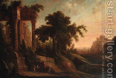 An Italianate landscape with figures by a ruined classical temple by (after) Jacques D' Arthois - Reproduction Oil Painting