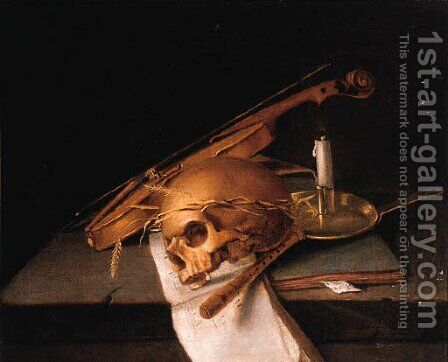 A skull decorated with ears of corn by (after) Jacques De Claeuw - Reproduction Oil Painting