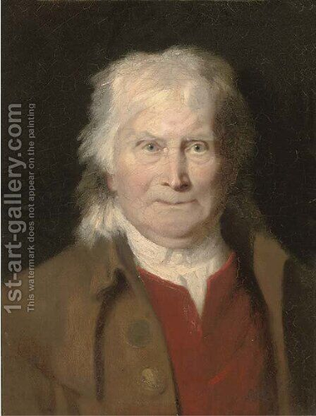 Portrait of an elderly man by (after) Jacques Laurent Agasse - Reproduction Oil Painting