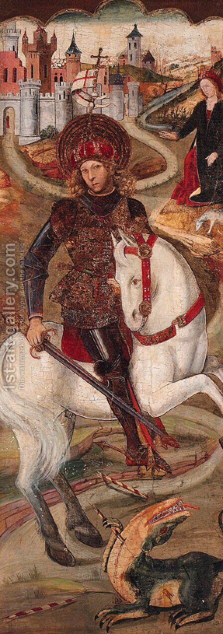 Saint George and the Dragon by (after) Jaume Huguet - Reproduction Oil Painting