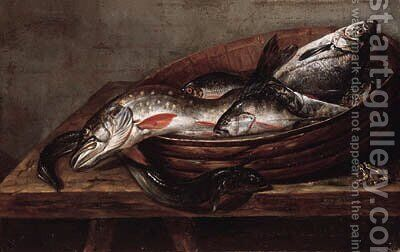 Dead fish in a bowl on a table with a dead frog by (after) Jakob Gillig - Reproduction Oil Painting